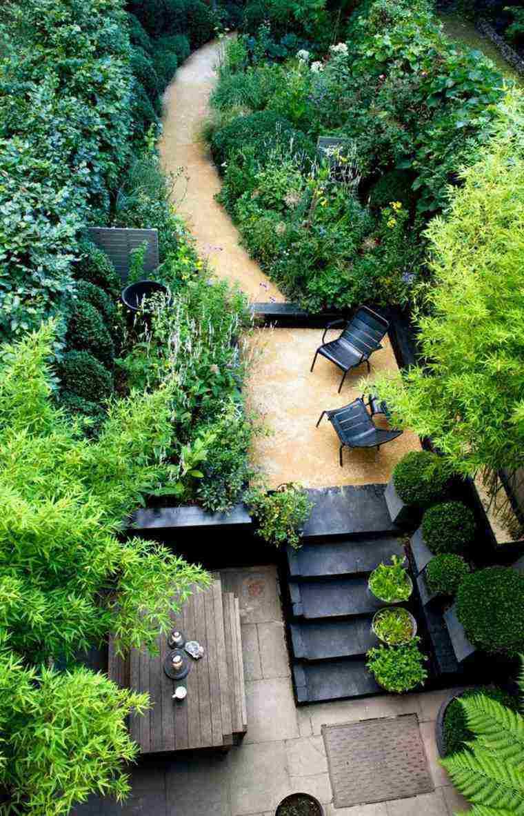 diseno jardines terrazas mesa madera escaleras ideas