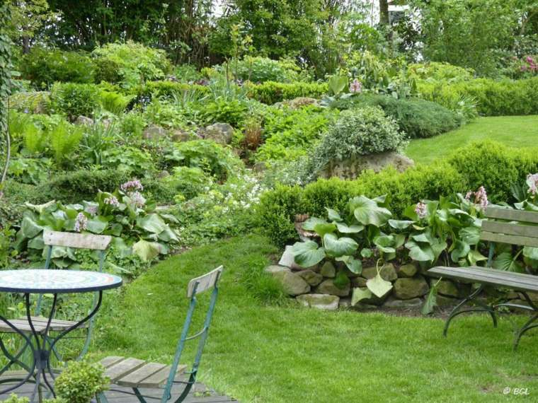 diseno jardines terrazas mesa sillas acero ideas