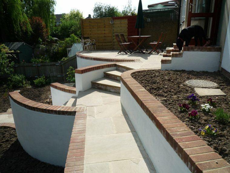 diseno jardines terrazas moderno escaleras ideas