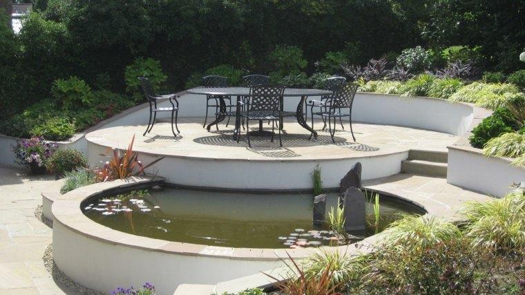 diseno jardines terrazas muebles color negro ideas