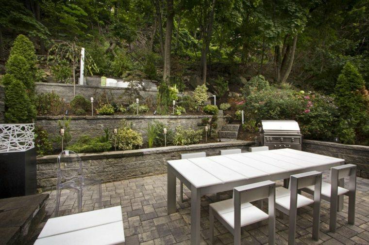 diseno jardines terrazas muebles madera gris ideas