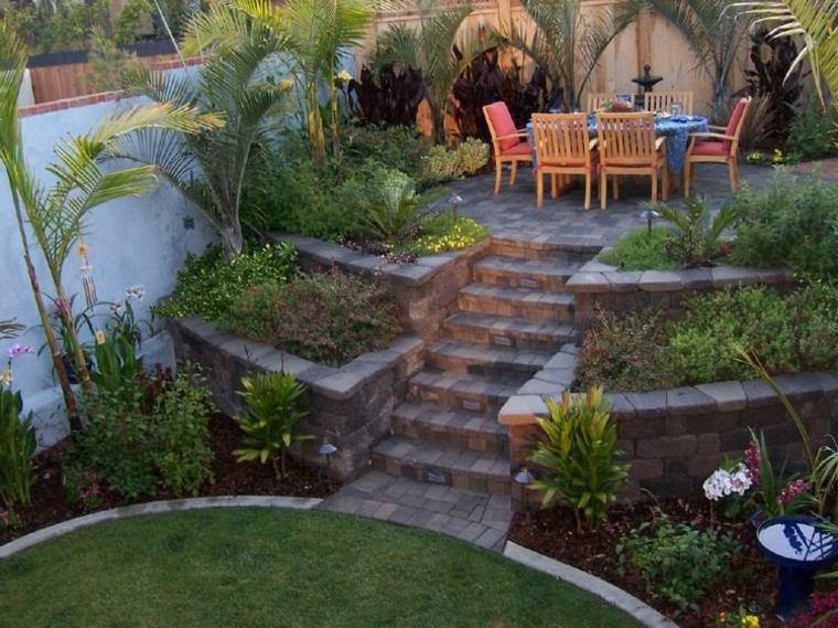 diseno jardines terrazas muebles teca ideas