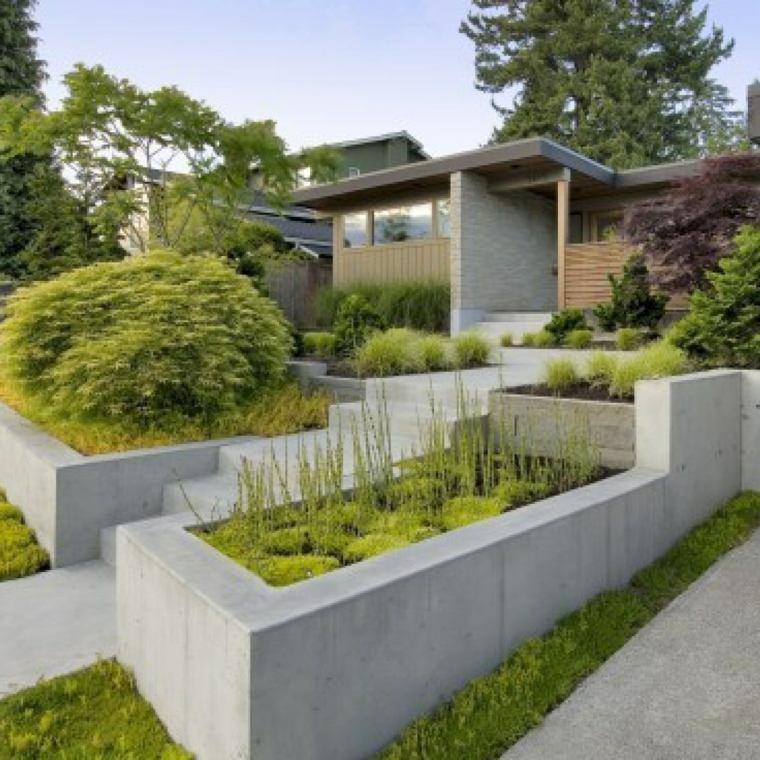 diseno jardines terrazas murallas hormigon ideas