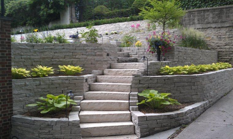 diseno jardines terrazas muros ladrillo piedra ideas