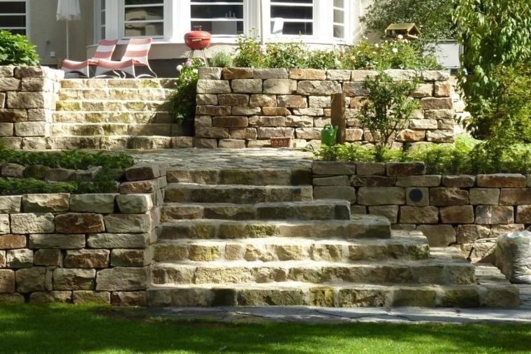 diseno jardines terrazas piedra muralla ideas