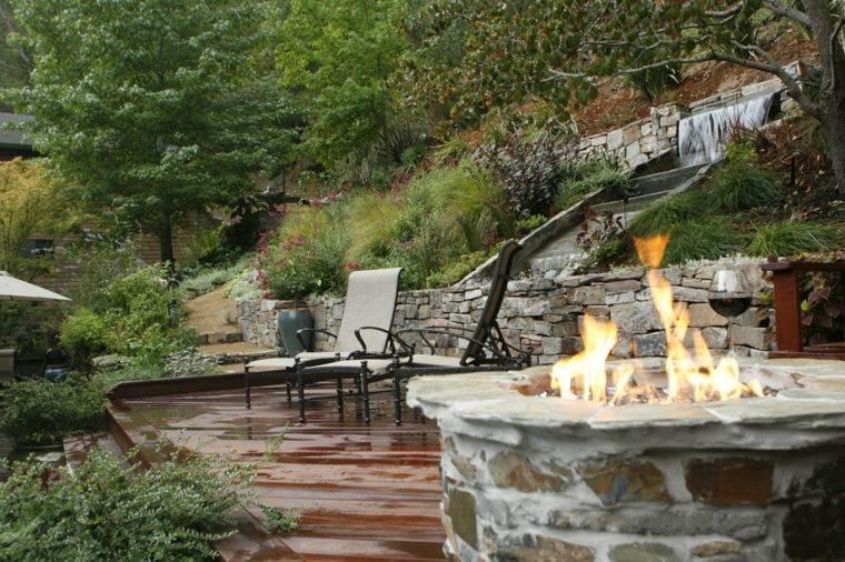 diseno jardines terrazas pozo fuego ideas