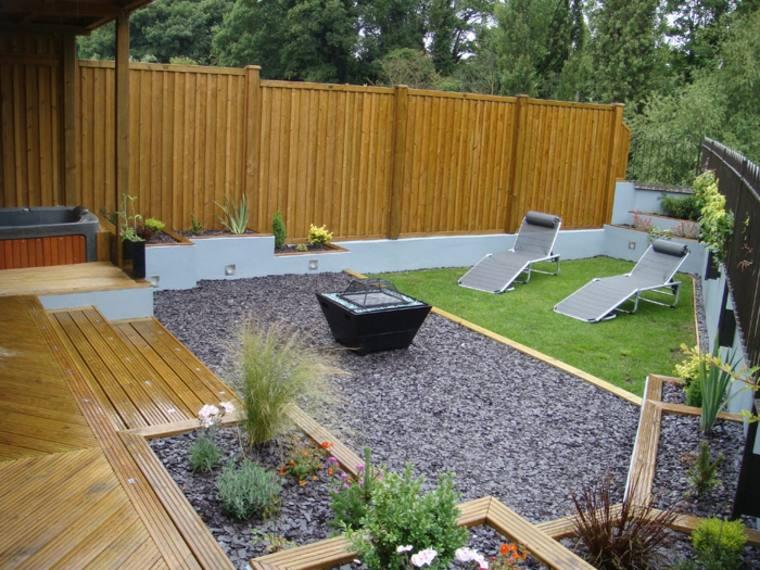 diseno jardines terrazas valla madera lacada ideas