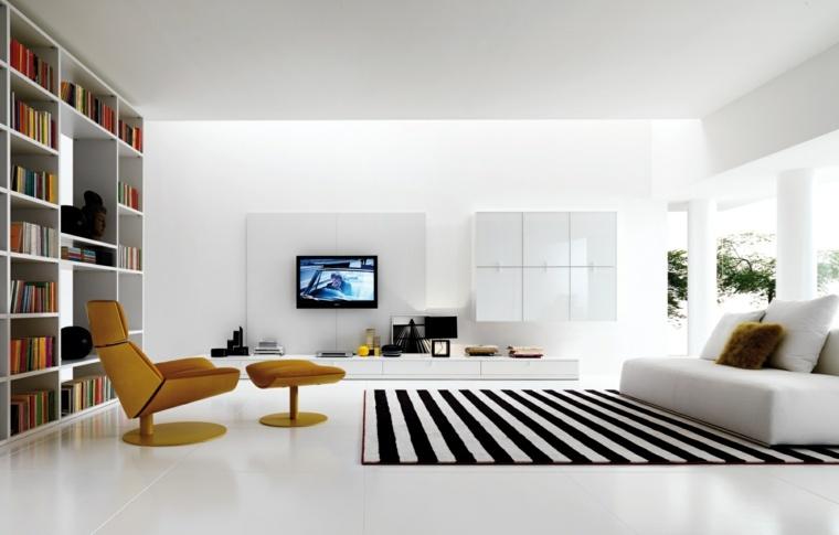 diseno minimalista interior alfombra rayas sillon amarillo ideas