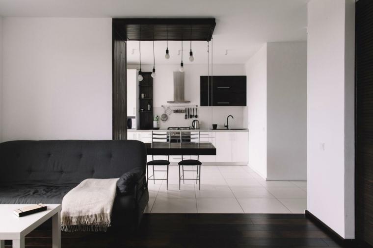 diseno minimalista interior apartamento pequeno blanco negro ideas