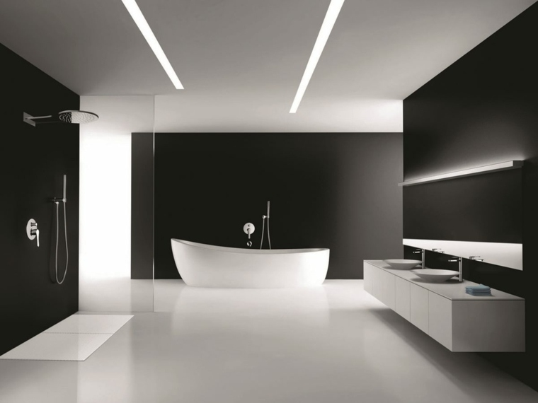 Interiores minimalistas 85 habitaciones en blanco y negro for Banos interiores para casa