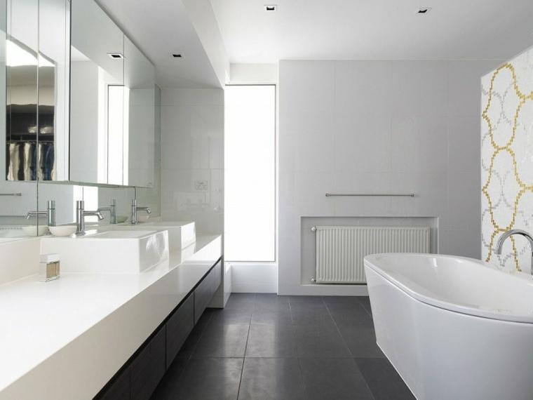diseno minimalista interior bano suelo negro ideas