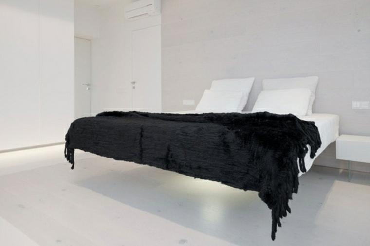 diseno minimalista interior blanco cama flotante ideas