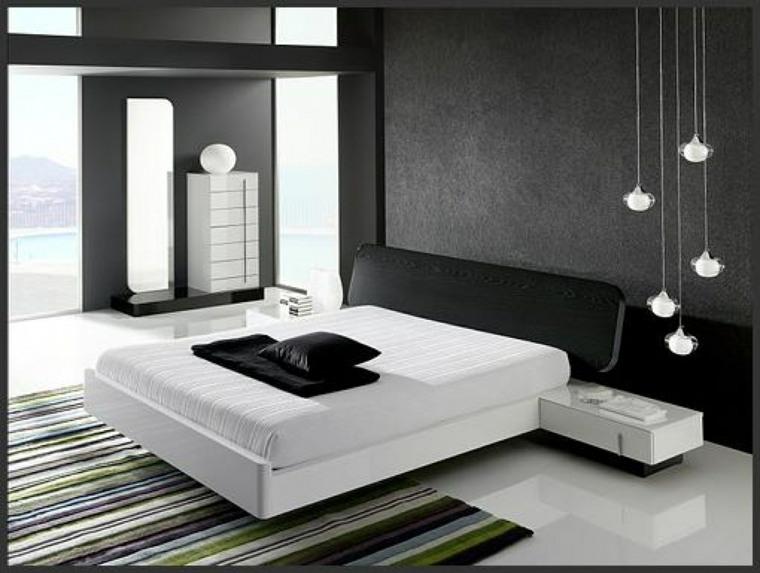 diseno minimalista interior blanco negro alfombra colores ideas