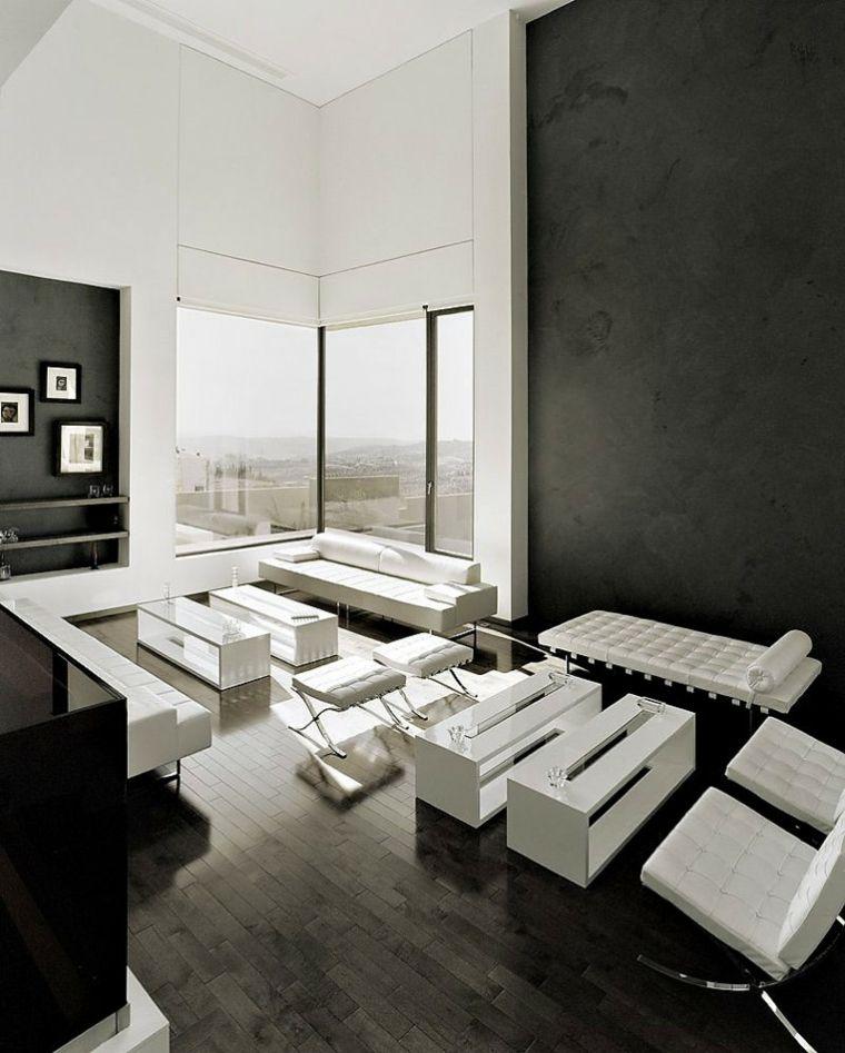 diseno minimalista interior blanco negro muebles preciosos ideas