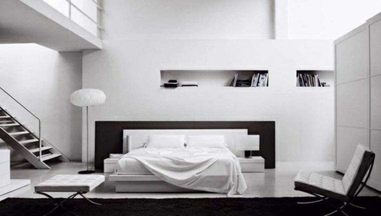 diseno minimalista interior cama respaldo negro ideas