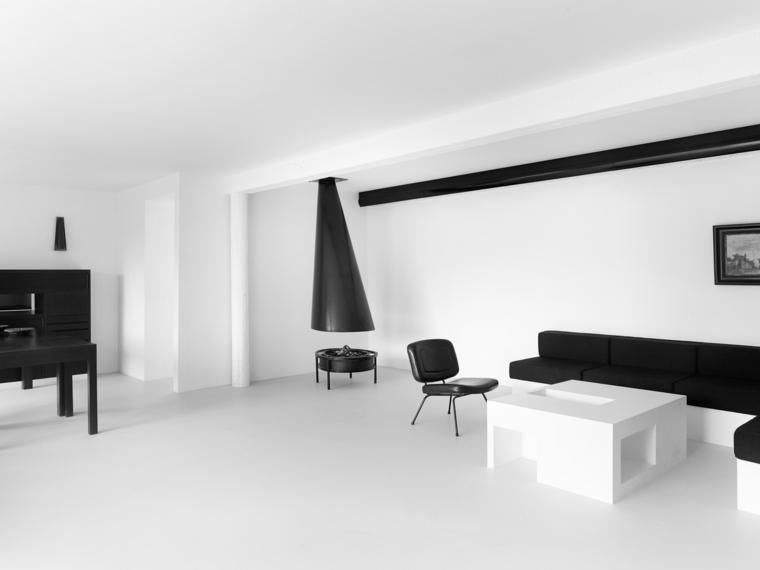 Interiores minimalistas 85 habitaciones en blanco y negro for Interior house designs black and white