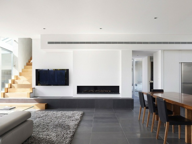 diseno minimalista interior chimenea mesa madera ideas