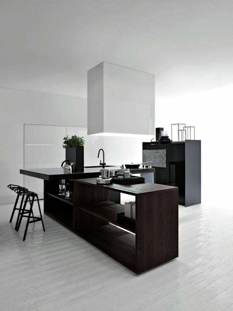diseno minimalista interior cocina barra negra ideas