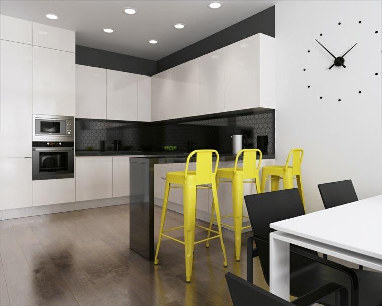 Interiores minimalistas 85 habitaciones en blanco y negro for Sillas barra cocina