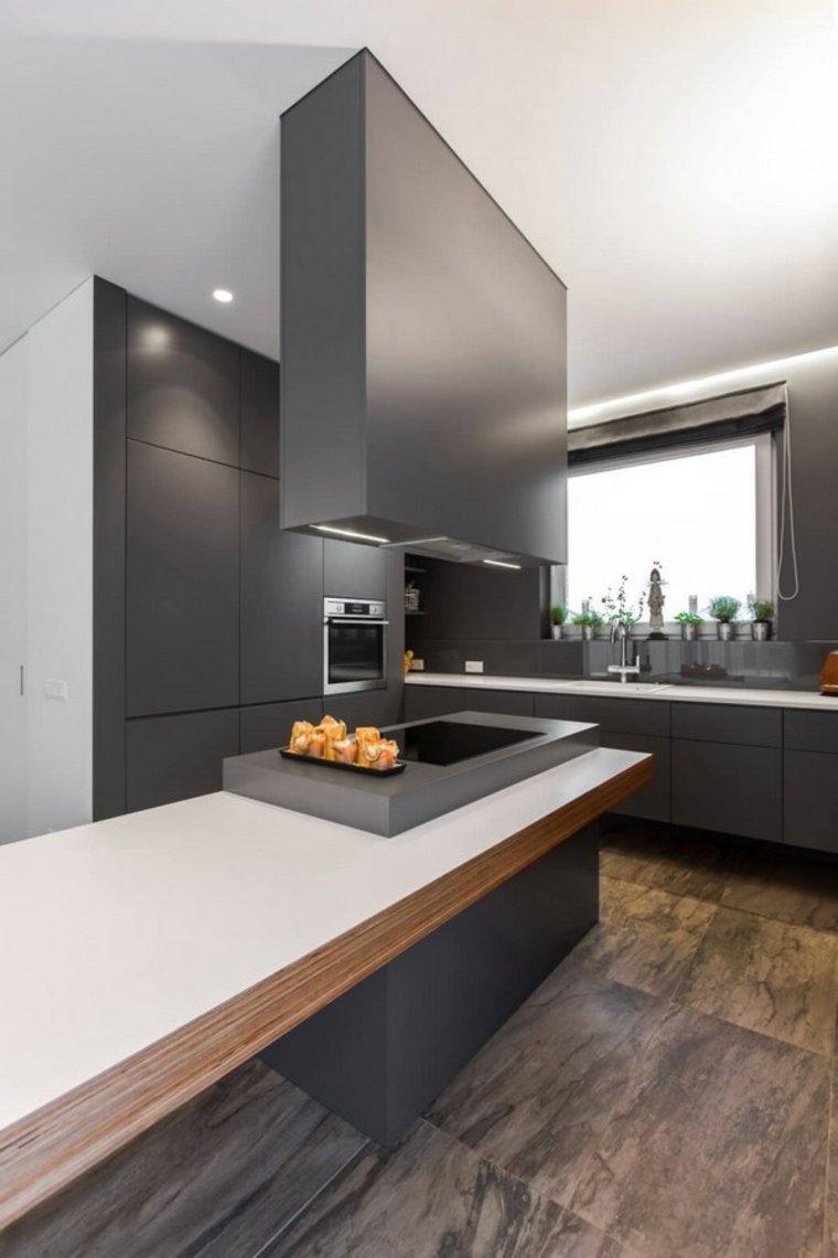 diseno minimalista interior cocina suelo madera ideas