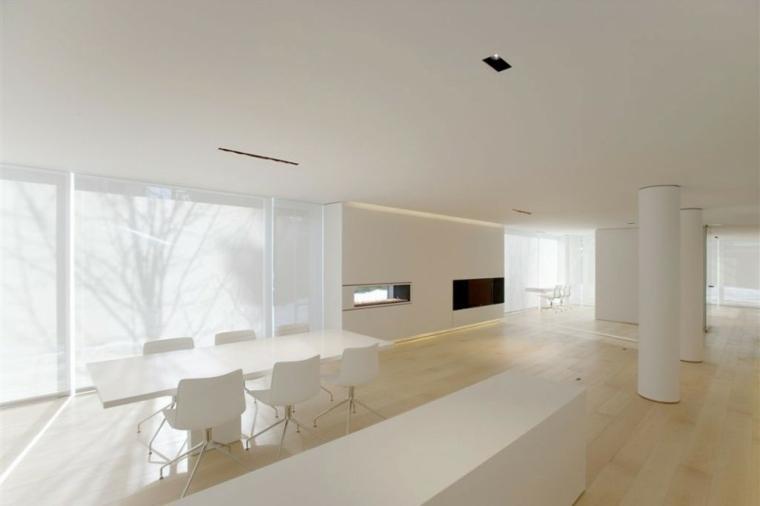 diseno minimalista interior comedor blanco suelo madera ideas