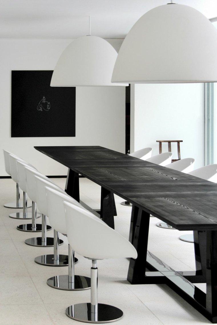 Interiores minimalistas 85 habitaciones en blanco y negro - Mesa comedor minimalista ...