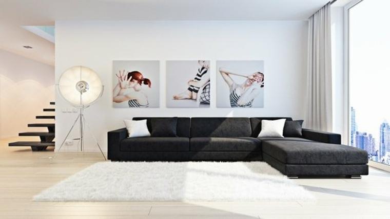 diseno minimalista interior cuadros decorando pared ideas