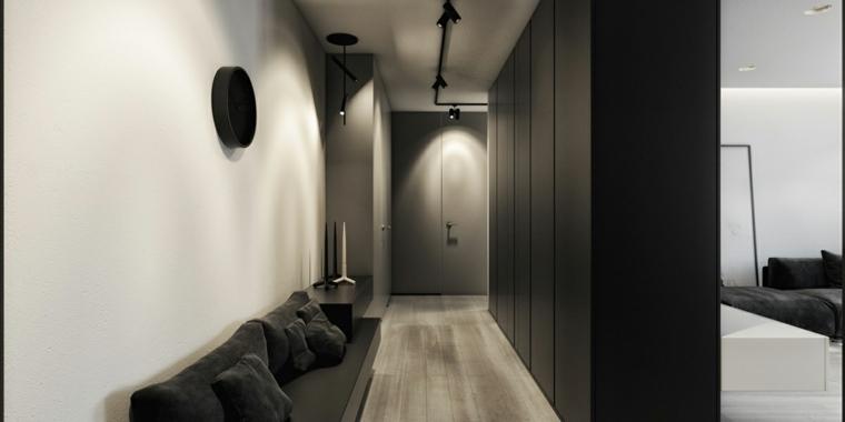 diseno minimalista interior entrada casa negra ideas