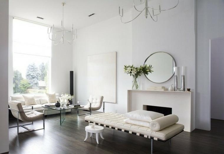 diseno minimalista interior espejo forma circular ideas