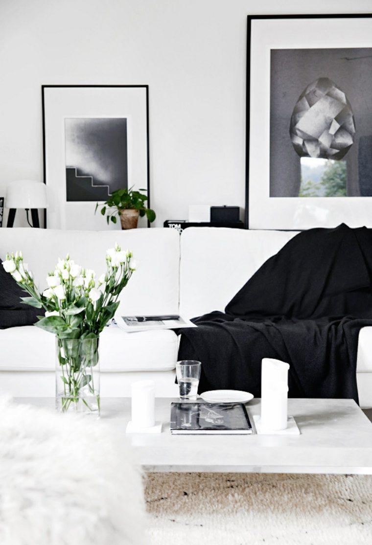 diseno minimalista interior flores frescas ideas