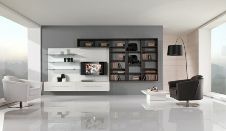 diseno minimalista interior ideas pared blanco negro ideas