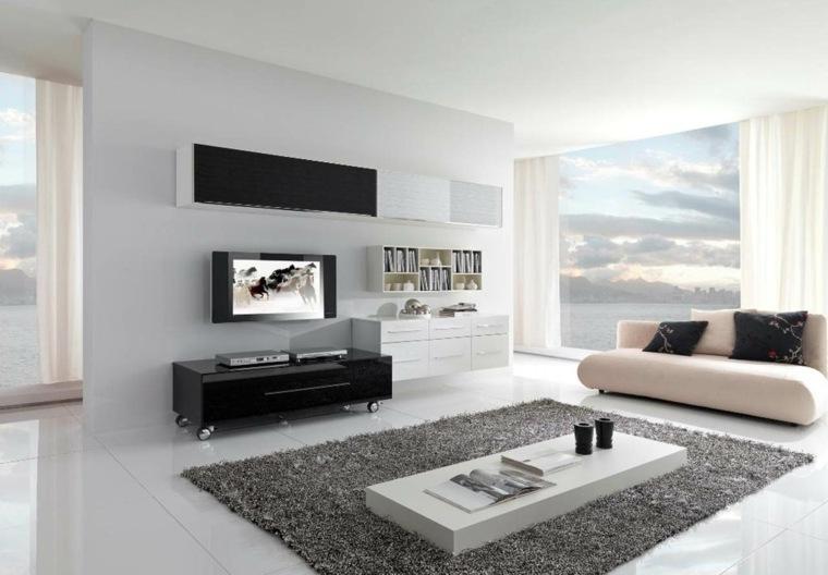 diseno minimalista interior muebles blanco negro ideas