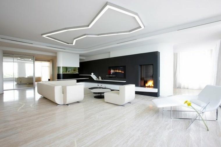 diseno minimalista interior muebles blancos modernos ideas