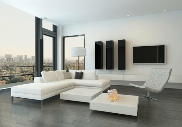 diseno minimalista interior muebles blancos paredes ideas