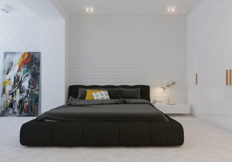 diseno minimalista interior pared ladrillo blanco cama negra ideas