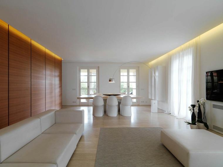 diseno minimalista interior pared madera muebles blancos ideas