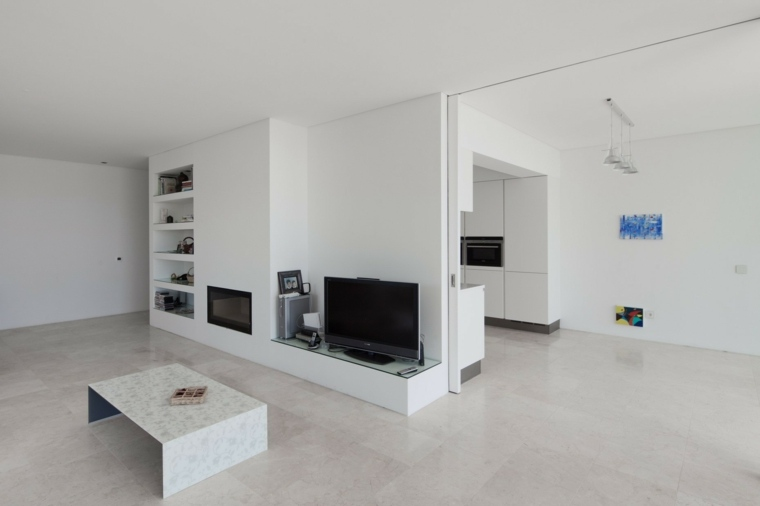diseno minimalista interior paredes blancas mesa salon ideas