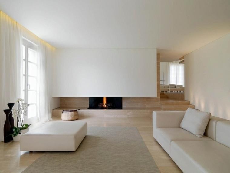 diseno minimalista interior paredes muebles color blanco ideas
