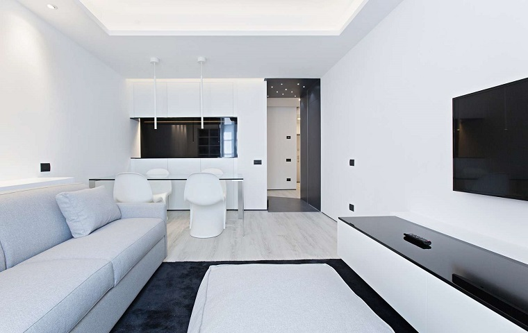 diseno minimalista interior salon blanco negro abierto cocina ideas