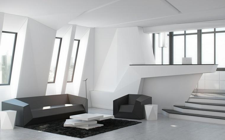 diseno minimalista interior salon escaleras alfombranegra ideas