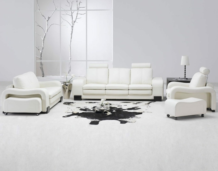 diseno minimalista interior salon muebles blancos originales ideas