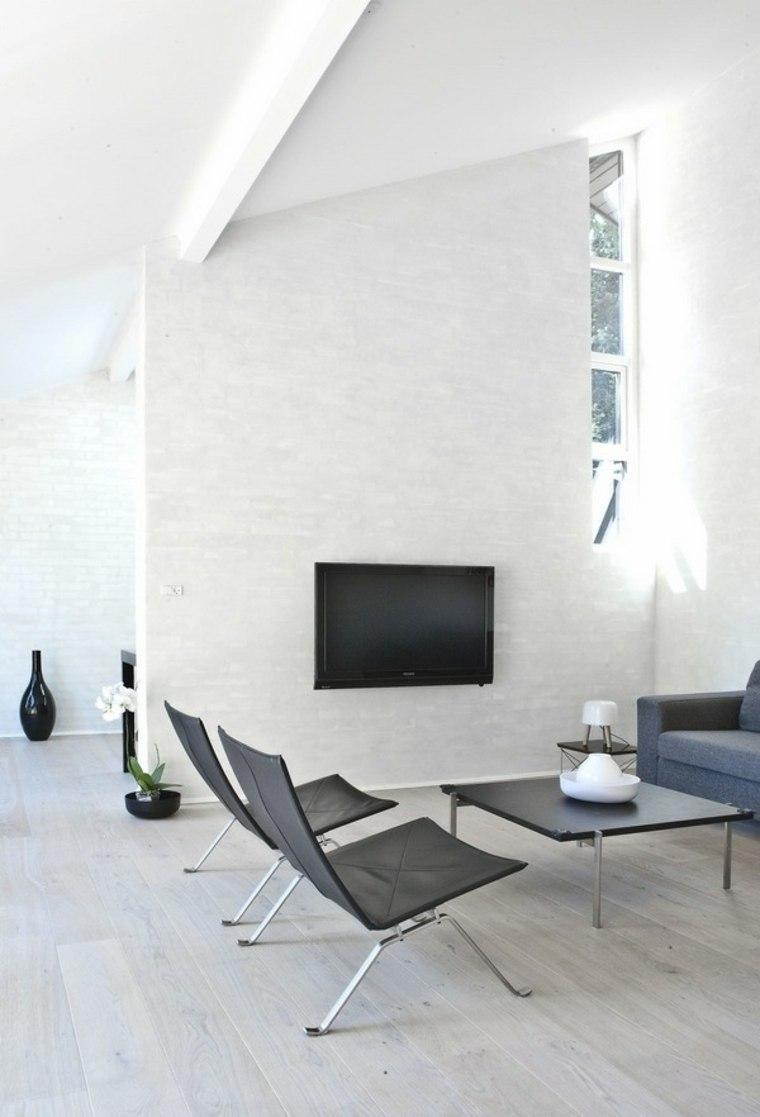 diseno minimalista interior sillones negros mesa cafe ideas