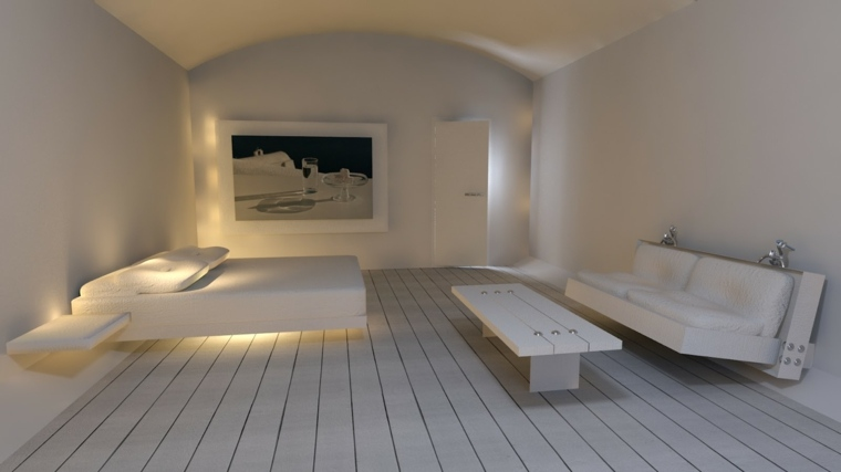 diseno minimalista interior sofa flotante dormitorio ideas