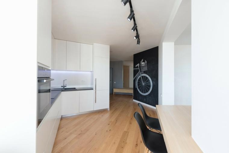 diseno minimalista interior suelo madera cocina blanca ideas