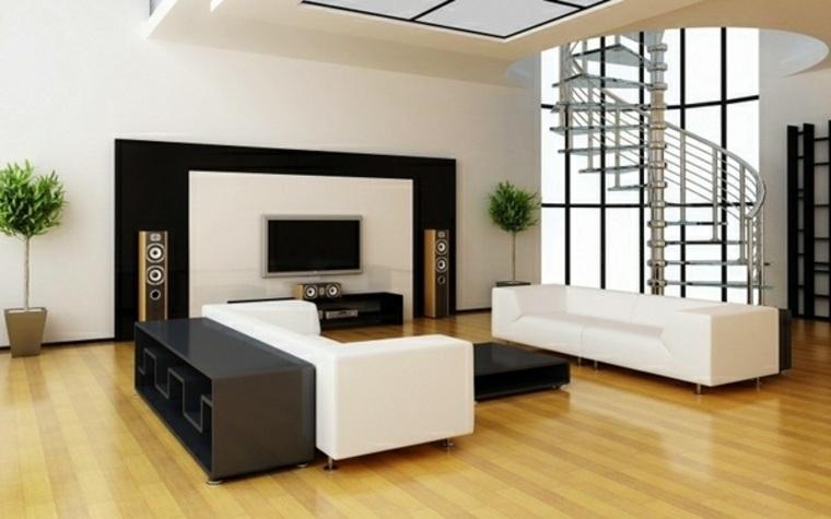 diseno minimalista interior suelo madera sofas blancas salon ideas