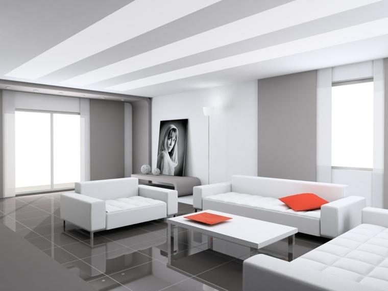 diseno minimalista interior toques naranja ideas