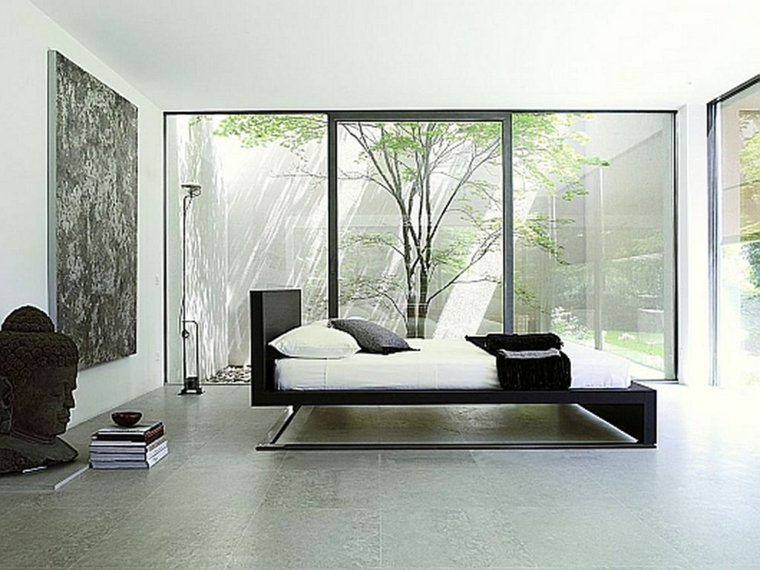 diseno minimalista interior ventanas dormitorio luminoso ideas
