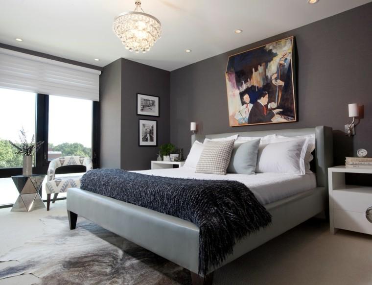 dormitorio moderno cuadro pared gris oscuro