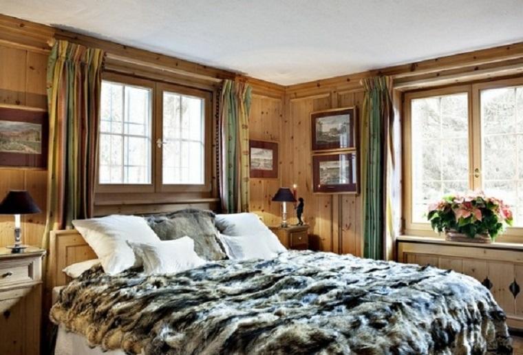 dormitorio luminoso piel cama grande pared madera ideas