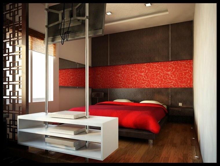 dormitorio moderno acento rojo pared ideas